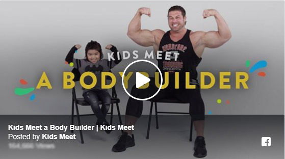 Kids meet bodybuilder